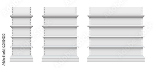Valokuva  Creative vector illustration of empty store shelves isolated on background