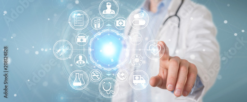 Doctor using digital medical futuristic interface 3D rendering