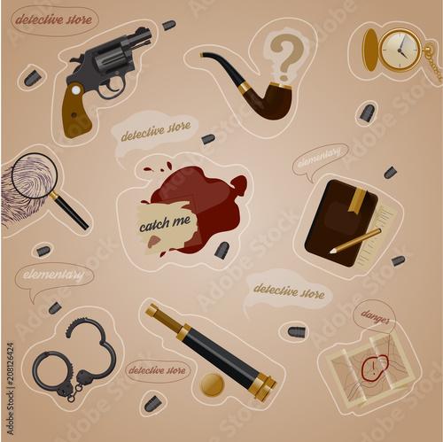 Detective elements Wallpaper Mural