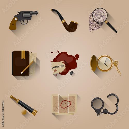 Detective Icon set elements Canvas Print