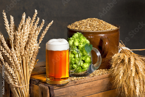 Papiers peints Biere, Cidre Glass of beer with raw material for beer production
