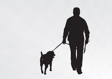 Silhouette Of A Guy With A Dog. The Guy Goes For A Walk With His Dog.