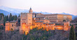 Alhambra of Granada at sunset, Andalusia, Spain