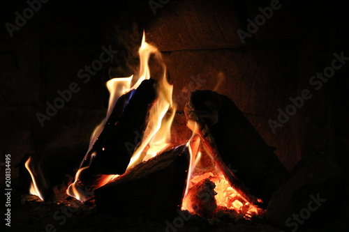In de dag Vuur / Vlam Wood burning in a cozy fireplace. Home interior.