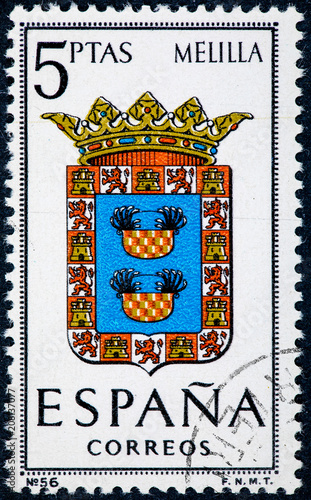 stamp printed in Spain dedicated to Arms of Provincial Capitals shows Melilla