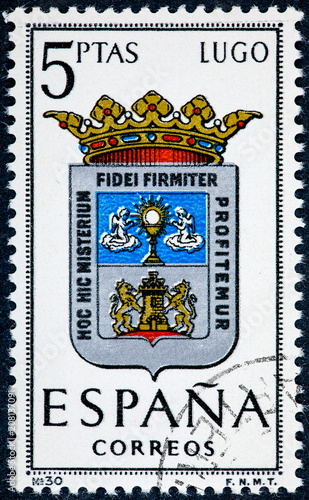 stamp printed in Spain dedicated to Arms of Provincial Capitals shows Lugo