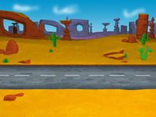 3D Cartoon Desert Rocks Illustration