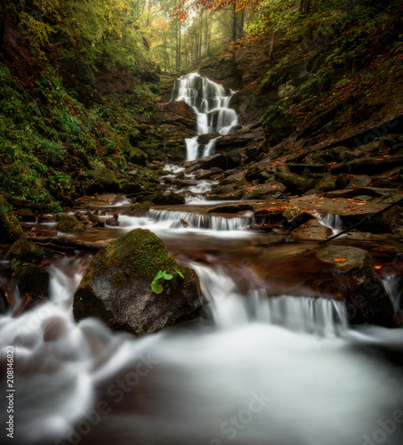 Foto op Canvas Zwart Landscape of a river flow in the mountain forest in autumn.
