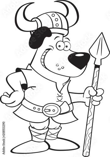 Poster de jardin Chambre bébé Black and white illustration of a dog wearing a Viking costume and holding a spear.