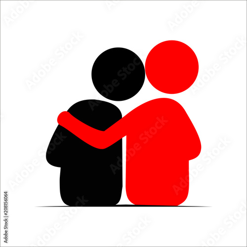 Fotografia  Friends hug each other. Vector Illustration icon.