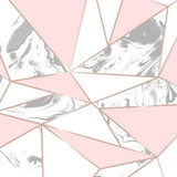 Gold, pink and marble vector texture design template with geometric shapes, lines and polygons. Minimalist Marble Texture Vector Design