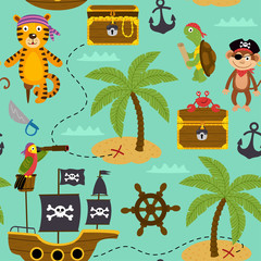 seamless pattern map of treasures with pirates animals - vector illustration, eps