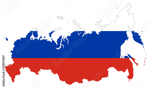 Obraz Flag of Russia in the country silhouette. Tricolor flag of three horizontal fields in white, blue and red color. Outline of the Russian Federation, country in Eurasia. Illustration over white. Vector. - fototapety do salonu