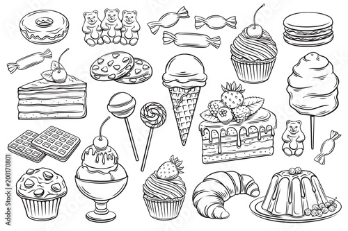 Fototapeta confectionery and sweets icons obraz