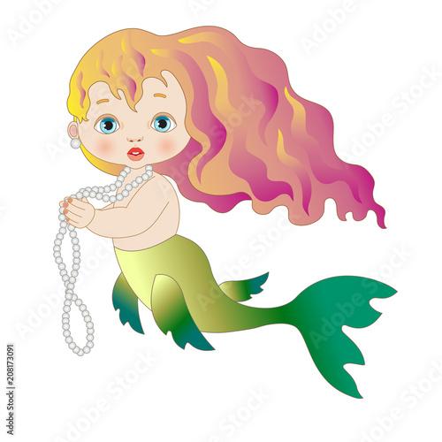 Photographie  Piccola sirena con capelli rossi e collana di perle su sfondo bianco