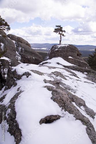 Deurstickers Lavendel snowy landscape in castroviejo province of soria