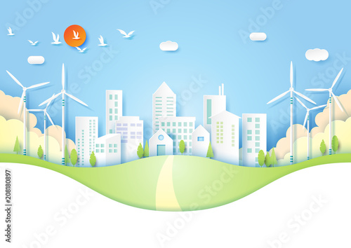 Papiers peints Avion, ballon Ecology and Environment concept with green eco urban city paper art style.Vector illustration.