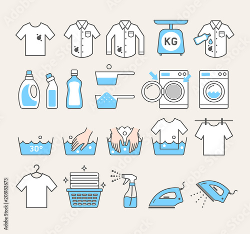 laundry service icons. Vector illustrations. Wallpaper Mural