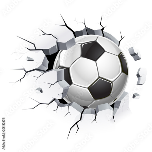 Obraz Soccer ball or football and Old concrete wall damage. Vector illustrations. - fototapety do salonu