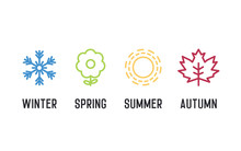 Four Seasons Icon Set. 4 Vector Graphic Element Illustrations Representing Winter, Spring, Summer, Autumn. Snowflake, Flower, Sun And Maple Leaf