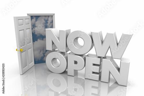 Fényképezés  Now Open Door Business Hours Grand Opening Words 3d Render Illustration