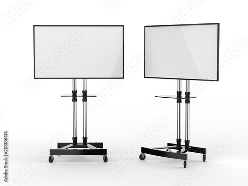 Fotografie, Obraz  Mobile Blank White Screen TV Trolley Stand Mount Cart Exhibition LED Advertising Display