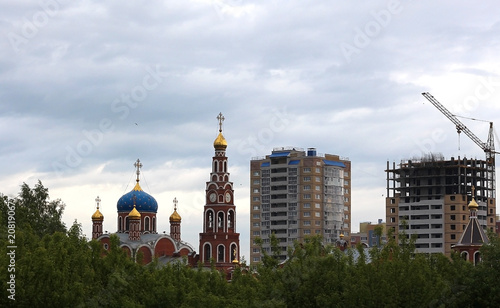 Foto Russian city landscape Christian Church and new building