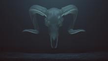Floating Evil Crystal Ram Skull Spirit In A Foggy Void 3d Illustration