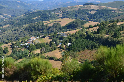 View Of The Village Of Rebedul From The Top Of The Meadows Of The Mountains Of Galicia. Travel Flowers Nature. August 18, 2016. Rebedul, Becerrea Lugo Galicia Spain.