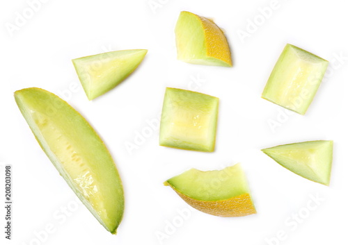 Fresh cantaloupe melon slices isolated on white background, top view