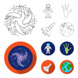 The alien hand, the space shuttle ship Space Shuttle, the astronaut in the spacesuit, the black hole with the stars. Space set collection icons in outline,flat style vector symbol stock illustration
