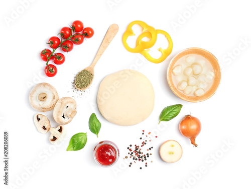 Dough and ingredients for pizza on white background, top view Billede på lærred
