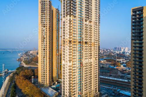Fototapeta Widok z lotu ptaka na miasto Nanjing, miejski krajobraz architektoniczny