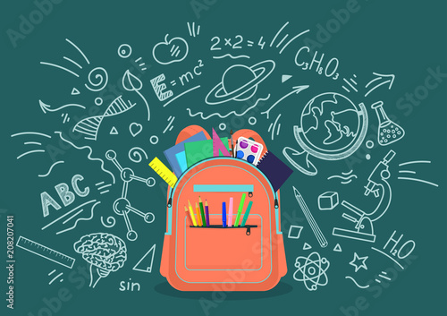 Obraz Open school backpack full of stationery with chalk doodle background. Education, subjects, studying concept. Vector illustration. - fototapety do salonu