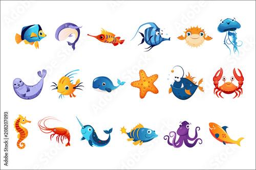 Fototapeta premium Zestaw kolorowych zwierząt morskich