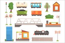 Cartoon Illustration Of Train Railroad Vector