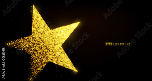 Fotografie, Obraz  Star banner background design with glowing particles isolated on dark black backdrop