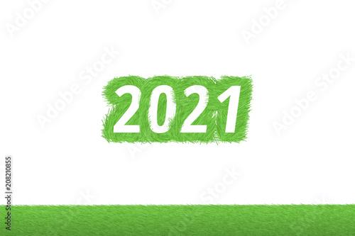 """Fotografia  """"2021"""" Gras Grüner Text auf weißem Hintergrund"""