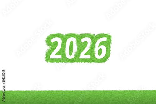"""Poster  """"2026"""" Gras Grüner Text auf weißem Hintergrund"""