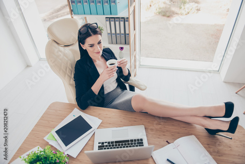 Stupendous Top View Portrait Of Attractive Charming Woman Putting Sexy Theyellowbook Wood Chair Design Ideas Theyellowbookinfo