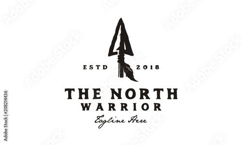 Fotografie, Obraz Vintage Retro Rustic Arrowhead Spear Hunting Hipster Logo Design
