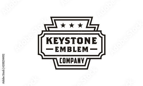 Fényképezés  Line Art Keystone Badge/Emblem logo design inspiration