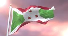 Burundi Flag Waving At Wind In...