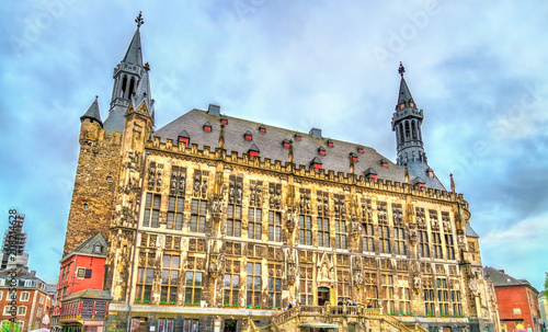 Foto op Plexiglas Europese Plekken Aachener Rathaus, the Town Hall of Aachen, built in the Gothic style. Germany