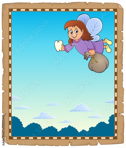 Poster Voor kinderen Parchment with tooth fairy theme 1