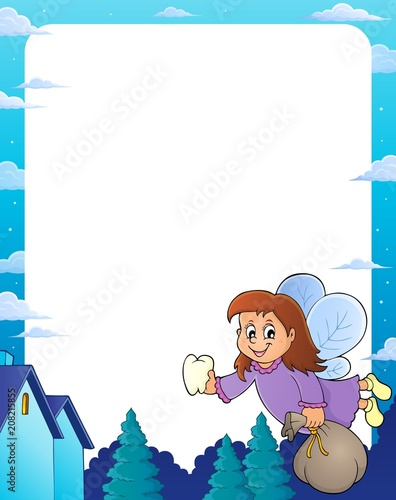 Poster Voor kinderen Tooth fairy theme frame 1