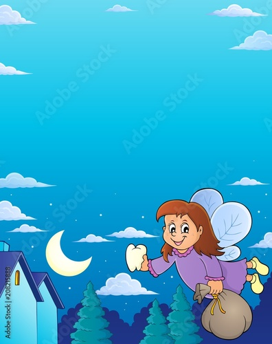 Deurstickers Voor kinderen Tooth fairy theme image 6
