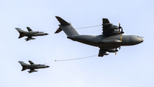 Military Tanker Aircraft Aerial Refuelling Two Air Force Fighter Bomber Jets