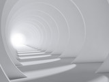 Fototapeta Scene - Abstract white round tunnel with glowing end