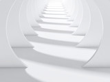 Fototapeta Perspektywa 3d - Abstract white tunnel interior 3 d